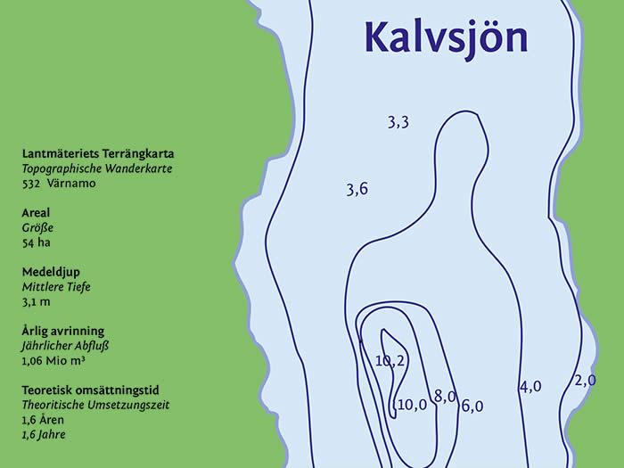 Kalvsjön-Tiefenkarte: Angeln in Schweden (Smaland)