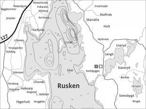 Ruskensee-Tiefenkarte: Angeln in Schweden (Smaland)