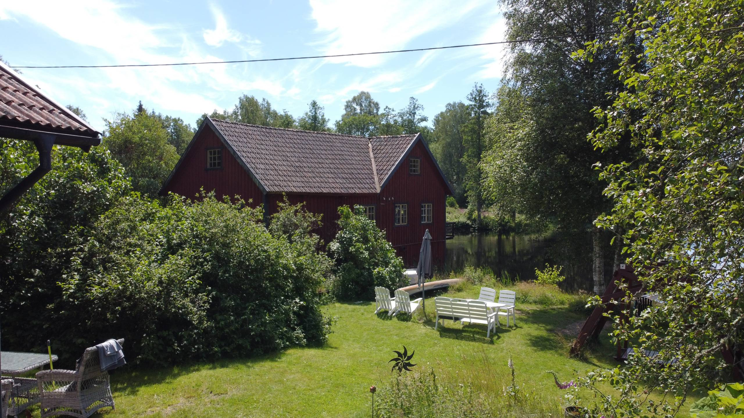 Blick Von Ferienhaus Troll Auf Den See Und Die Mühle