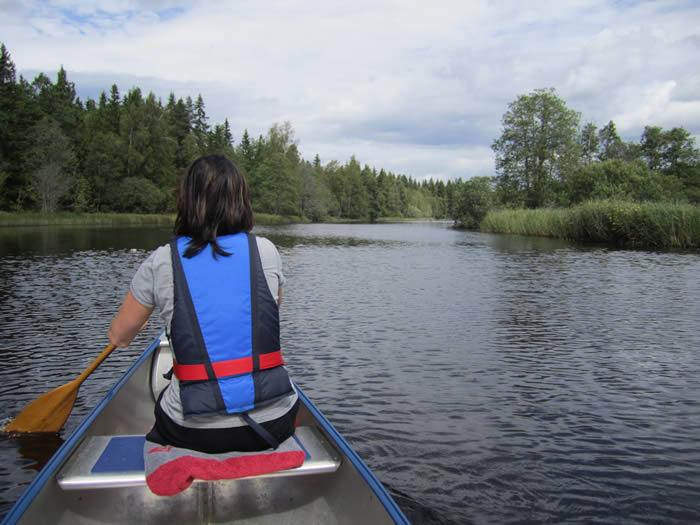 Kanutour in Schweden auf dem Fluss Vrigstadsan