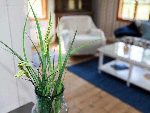 """Schweden Ferienhaus am See """"Torp Staveryd"""" - Details im harmonisch eingerichtet Wohnzimmer"""