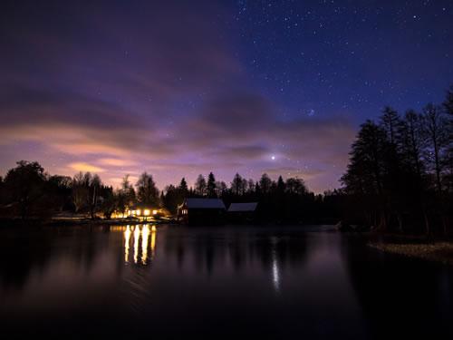 Schweden Ferienhaus Troll: Abendstimmung am See Vrigstadsan