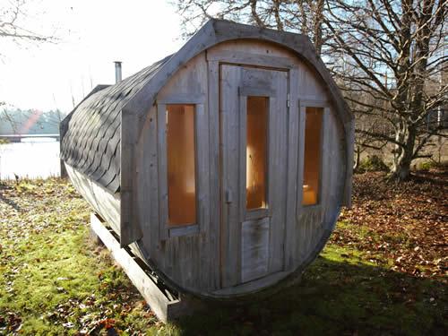Sauna (aussen) im Schweden Ferienhaus am See in Smaland (Südschweden)