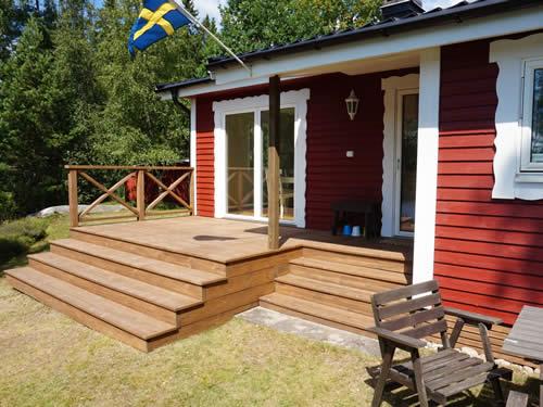 """Schweden - Smaland: Ferienhaus am See Langen - Haus """"Michel"""" - Sonnenseite"""