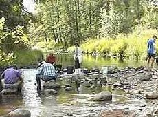 Schweden - Smaland: Goldwaschen am Fluss