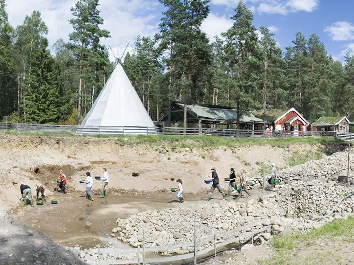 Smaland (Schweden): Goldwaschen / Goldschürfen in Ädelsfors - Goldgräberstimmung im Camp