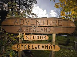 Urlaub in Schweden und Smaland: Tourist-Camp Langö am Ruskensee - Begrüßungsschild