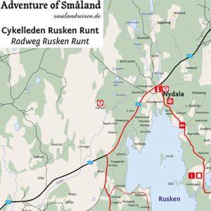 Schweden - Smaland: Radwanderkarte Ruskensee (Ausschnitt)