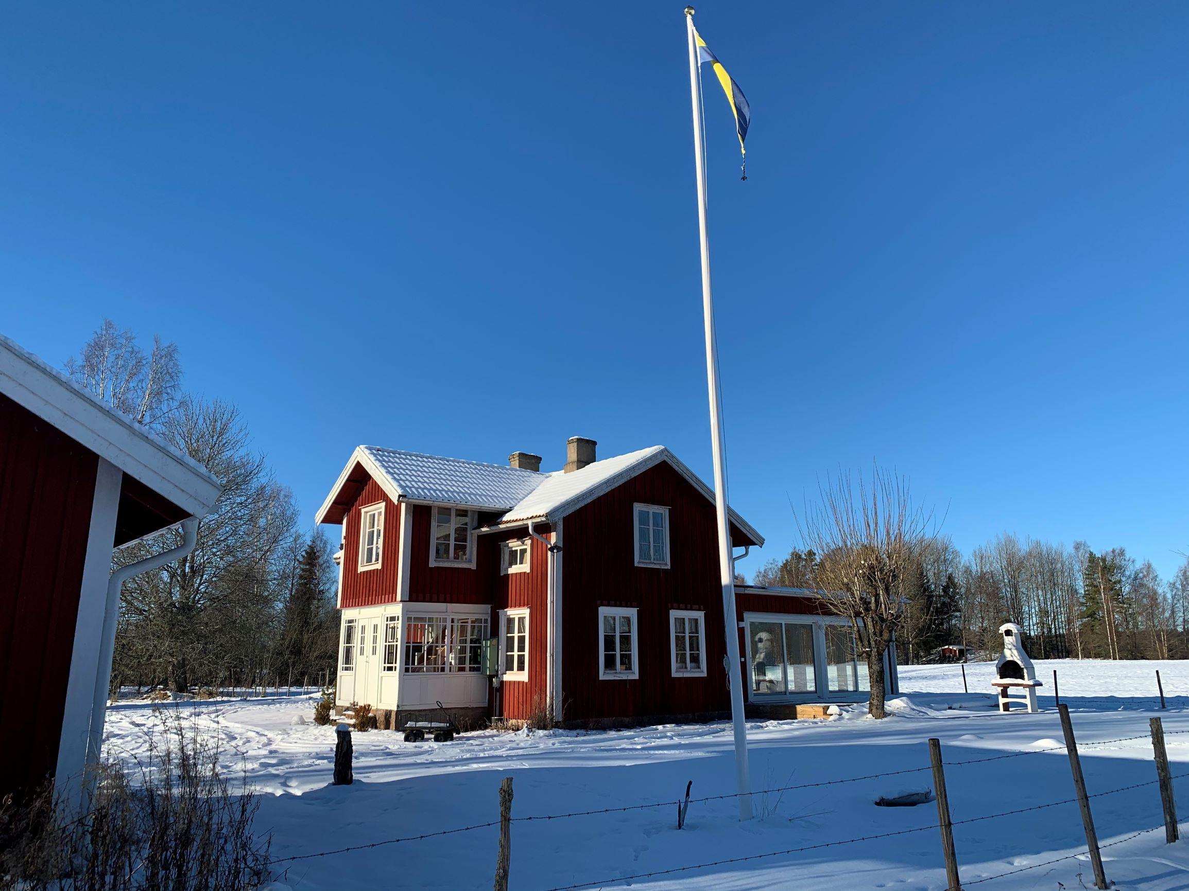 Wohnhaus Torp Staveryd Am See Vrigstadsan Und Gästetuga In Winter
