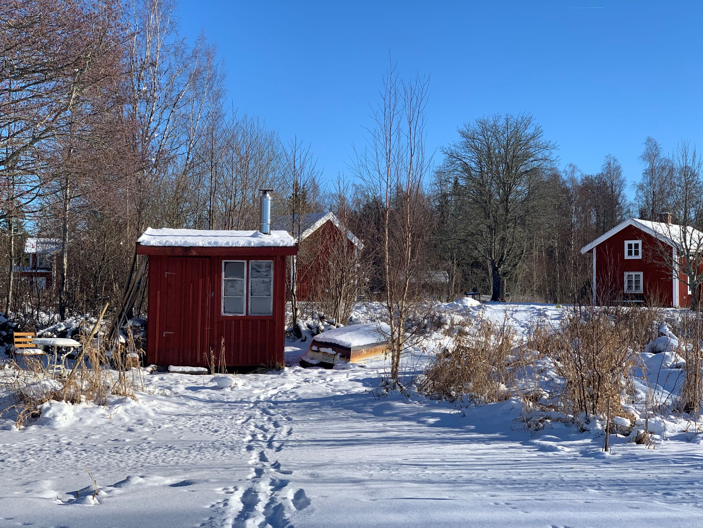 Torp Staveryd Blick Vom See Vrigstadsan Auf Eine Der Beiden Saunen Und Die Wohnhäuser